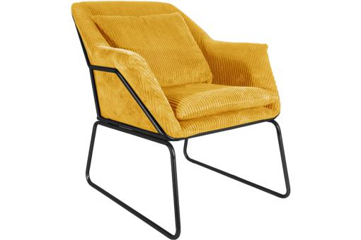 Fauteuil Glam en Velours Jaune HARRY