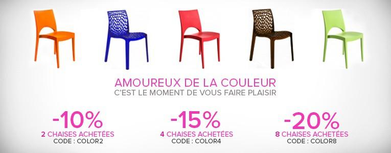 Promotion sur les chaises colorées