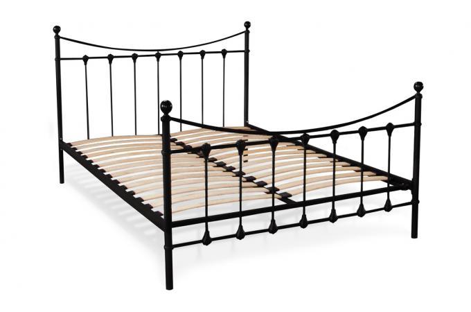 lit a barreaux en m tal coloris noir 140x190 lotte lit design pas cher. Black Bedroom Furniture Sets. Home Design Ideas