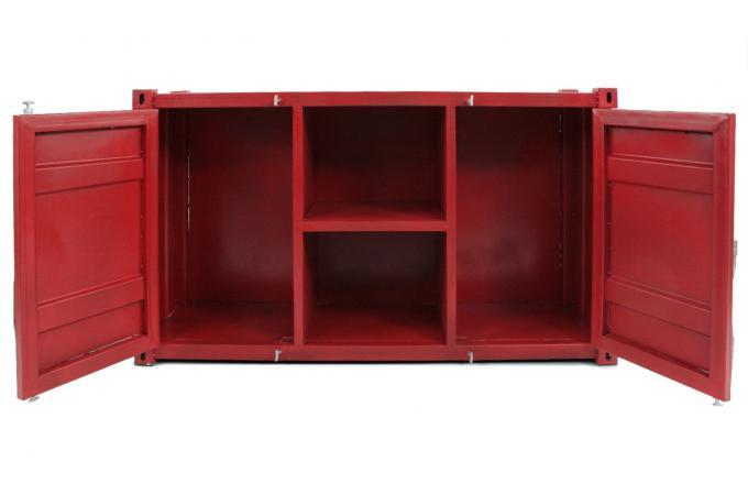 buffet en m tal rouge sarana meuble tv pas cher. Black Bedroom Furniture Sets. Home Design Ideas