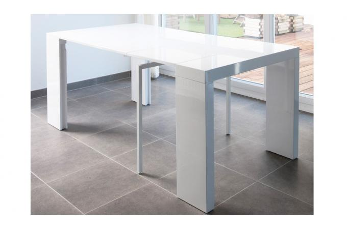 Console extensible blanche 180cm laque BOSTON