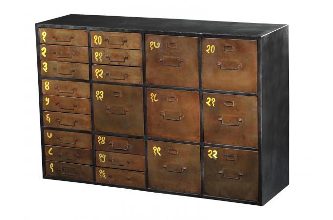 buffet en m tal 22 tiroirs archio buffet pas cher. Black Bedroom Furniture Sets. Home Design Ideas
