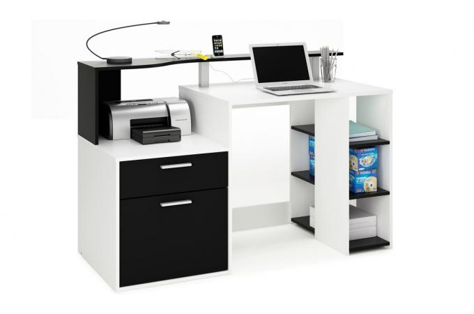 Bureau 3 etagères et caisson de rangement coloris blanc et noir