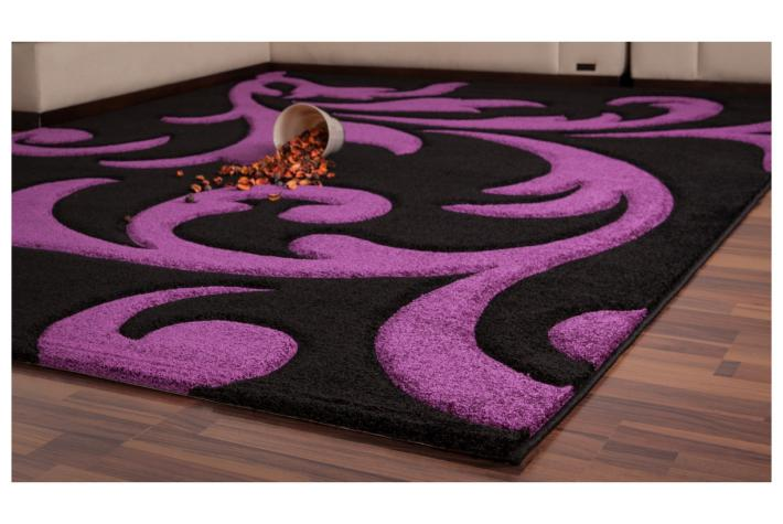 tapis rectangulaire 120 x 170 cm baroque violet noir tapis design pas cher. Black Bedroom Furniture Sets. Home Design Ideas