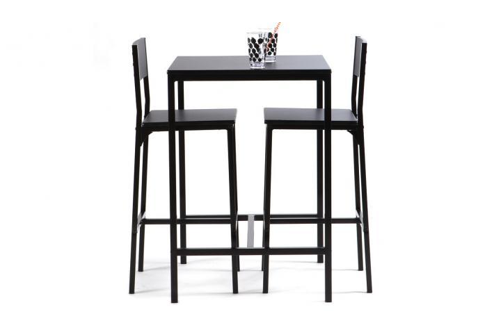Table haute avec 2 chaises carina table de bar pas cher - Table de cuisine haute avec tabouret ...