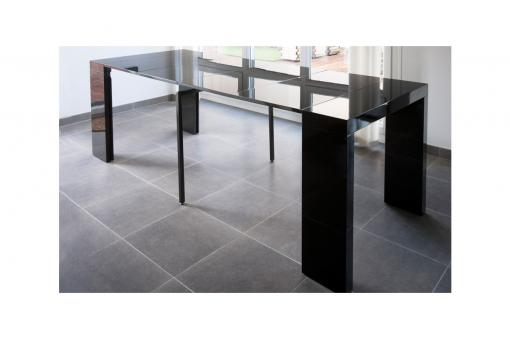 Console extensible 250cm Noir Laque LINE-BLACK - Table design