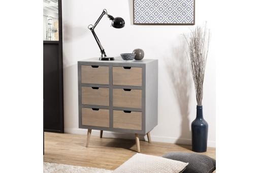 Commode 6 tiroirs - Gris - Console design