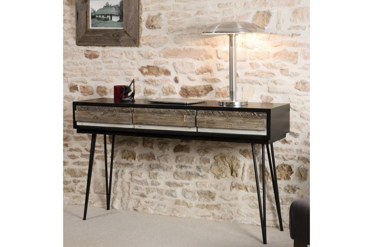 Commode Chambre Style Industriel console 3 tiroirs pieds épingle en métal style industriel multicolore plus  d'infos