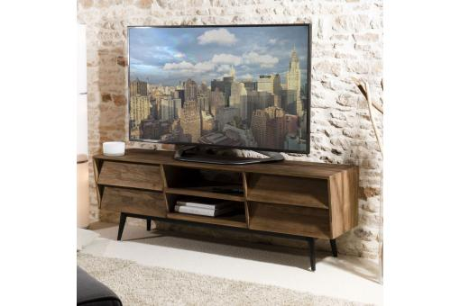 Meuble TV 2 niches 4 tiroirs en teck recyclé Scandi - Brun - Meuble tv design
