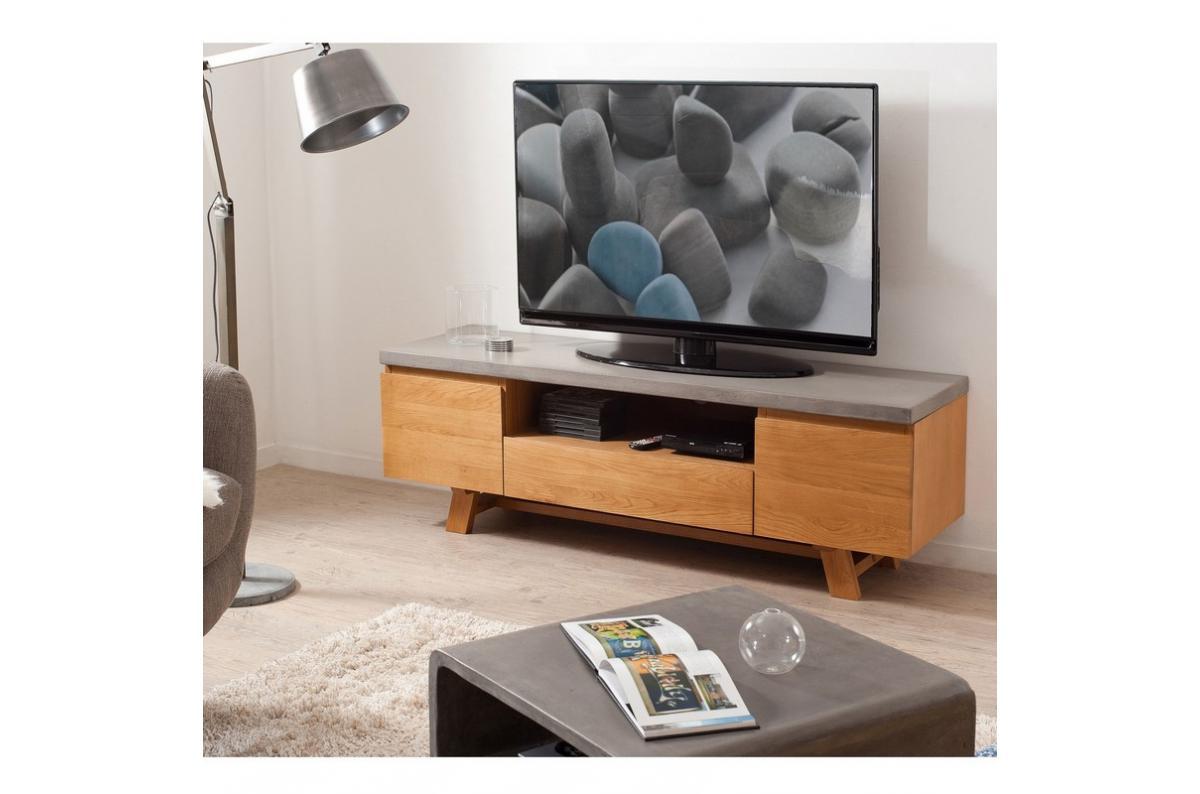 Meuble En Béton Ciré meuble tv en chêne plateau béton ciré style indsutriel - chêne clair /  béton plus d'infos