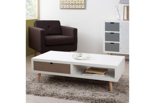Table basse rectangulaire 1 niche 2 tiroirs - Multicolore - Table basse design