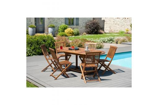 Ensemble table ovale extensible + 6 chaises pliantes en teck huilé Java - Teck - Table de jardin design