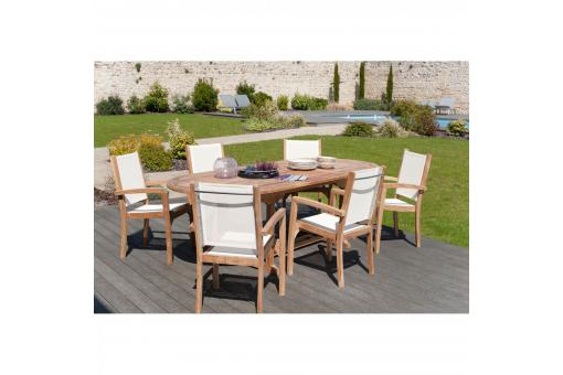 Ensemble table ovale extensible + 6 fauteuils empilables en teck massif et textile - Table de jardin design