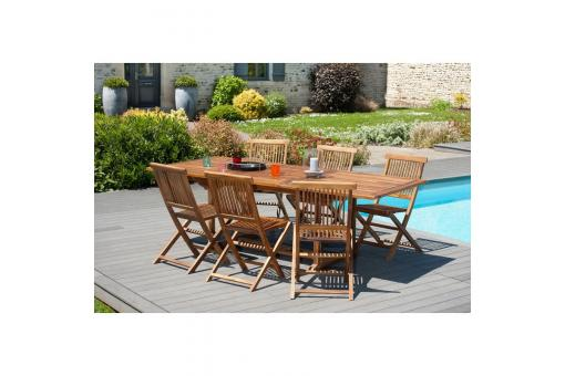 Ensemble table rectangulaire extensible + 6 chaises pliantes en teck huilé Java - Teck - Table de jardin design
