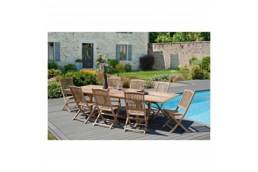 Ensemble table rectangulaire double extension + 8 chaises pliantes en teck massif Lombock - Table de jardin design