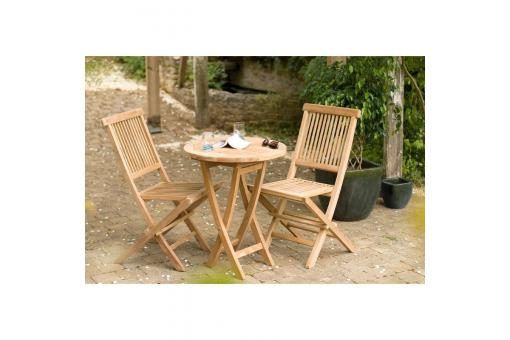 Ensemble table ronde + 2 chaises pliantes en teck massif Java - Teck - Table de jardin design