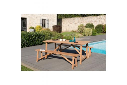 Ensemble table rectangulaire + 2 bancs en teck massif - Teck - Table de jardin design