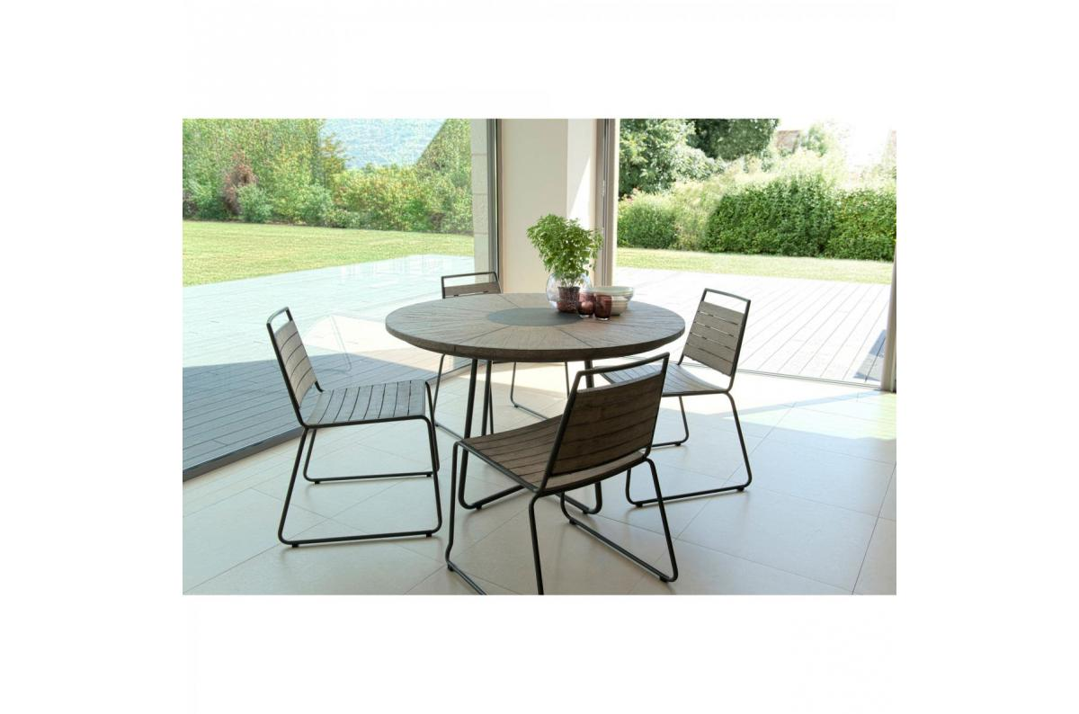Ensemble table ronde + 6 chaises empilabes en teck massif et métal