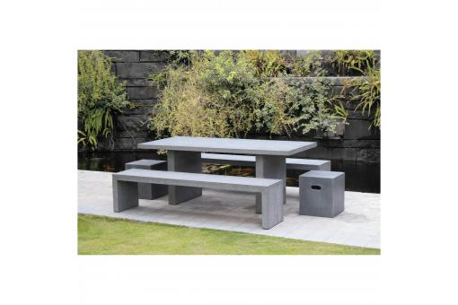 Ensemble table rectangulaire + 2 bancs en fibre de ciment - Table de jardin design