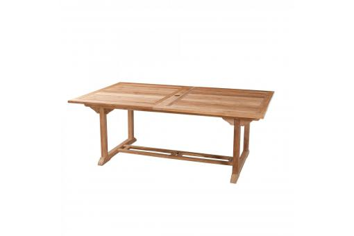 Table rectangulaire double extension 10/12 personnes en teck massif - Table de jardin design