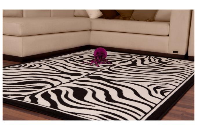 tapis rectangulaire 120 x 170 cm zebre noir et blanc. Black Bedroom Furniture Sets. Home Design Ideas