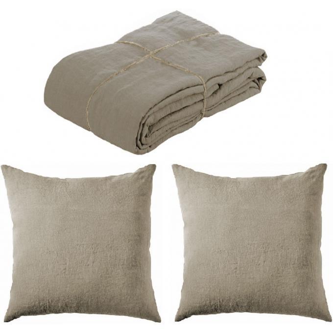 parure housse de couette lin lave 220x240 et 2 taies d 39 oreillers 65 x 65 taupe housse de. Black Bedroom Furniture Sets. Home Design Ideas