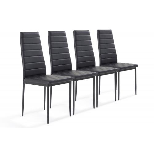 Lot de 4 chaises Simili Cuir Noir SEDITI - Lot 4 chaises design
