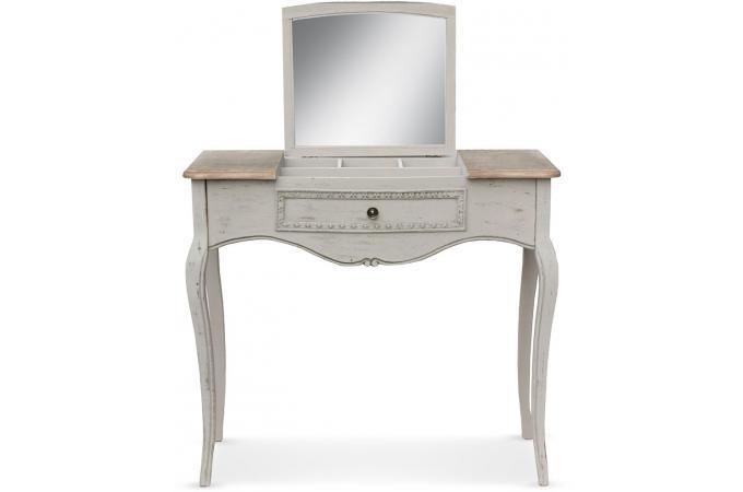 coiffeuse avec miroir rabattable beige penelope console pas cher. Black Bedroom Furniture Sets. Home Design Ideas