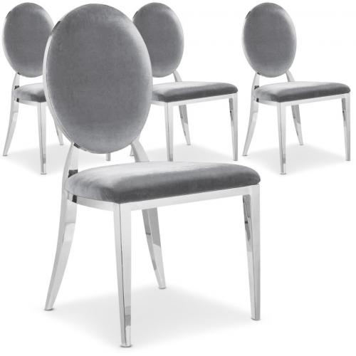 Lot de 4 chaises Sofia velours Argent - Lot 4 chaises design
