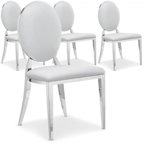 Lot de 4 chaises Sofia Baroque Blanc - Lot 4 chaises design