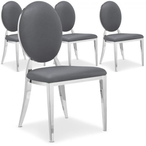 Lot de 4 chaises Sofia Baroque Gris - Lot 4 chaises design