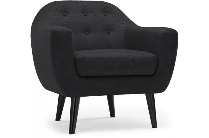 fauteuil scandinave fidelio tissu gris noir fauteuil. Black Bedroom Furniture Sets. Home Design Ideas