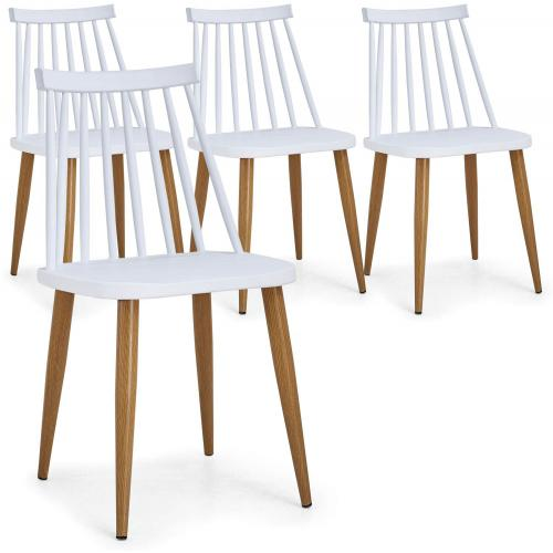 Lot de 4 Chaises Scandinaves Blanches GATOU - Lot 4 chaises design