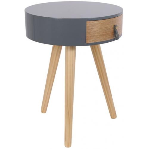 Table de Chevet en Bois Gris et Beige NOURA - Table de chevet design
