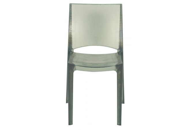 Chaise design grise claire fum e transparente nilo - Chaise design transparente polycarbonate ...