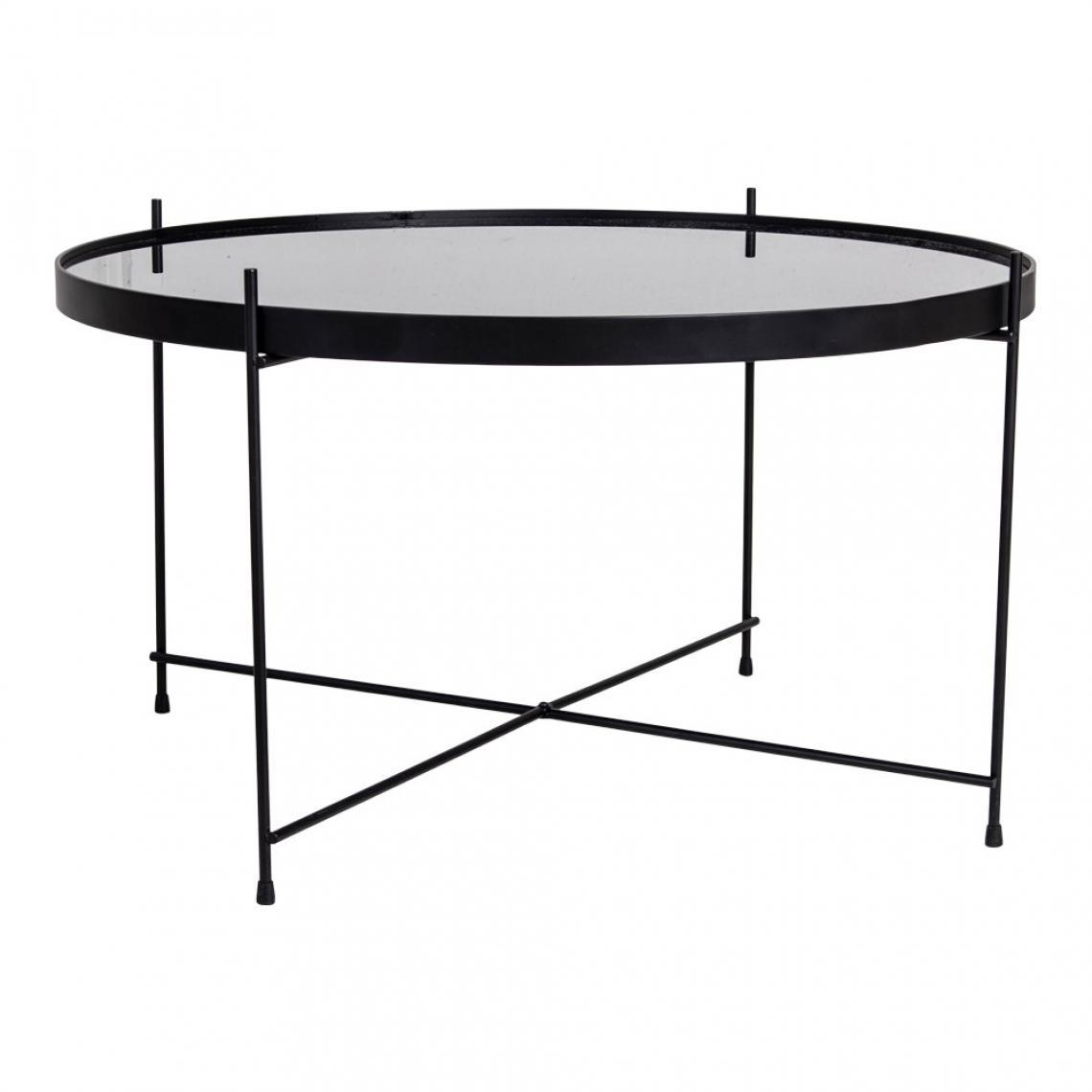 table basse ronde 70 cm en verre et en acier noir ellena