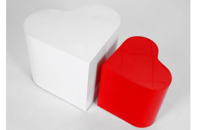 Promo : Set de 2 tables d'appoint coeur