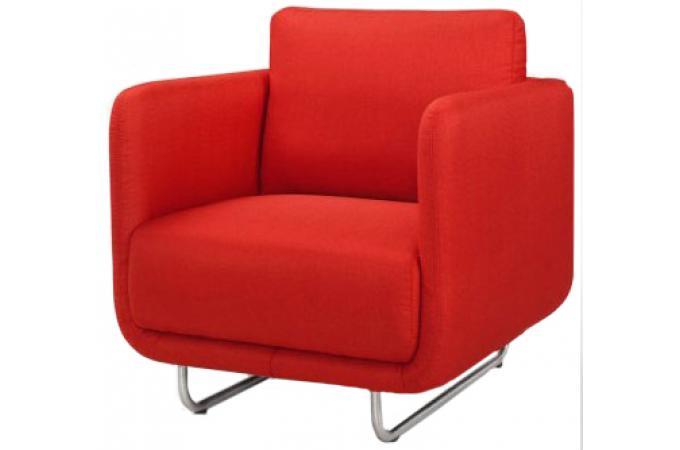 Fauteuil june design rouge pieds metal bross fauteuil - Fauteuil design soldes ...