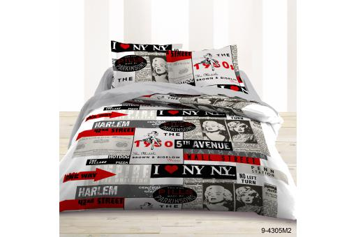 parure housse de couette taie d 39 oreiller noir et rouge i love ny polycoton lit 140x190 mars. Black Bedroom Furniture Sets. Home Design Ideas