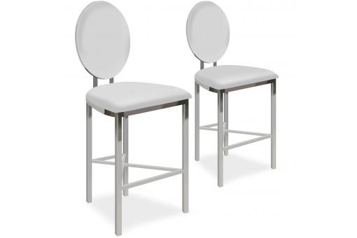 Lot de 2 chaises de bar médaillon Simili Blanc PASK - Tabouret de bar design