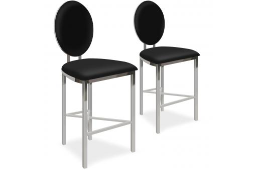 Lot de 2 chaises de bar médaillon Simili Noir PASK - Tabouret de bar design