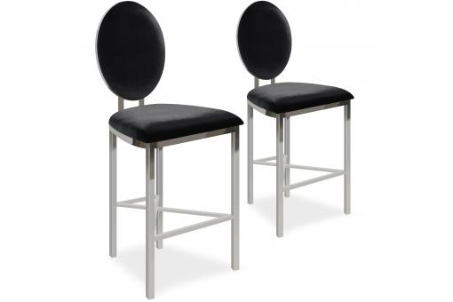 Lot de 2 chaises de bar médaillon Velours Noir PASK - Tabouret de bar design