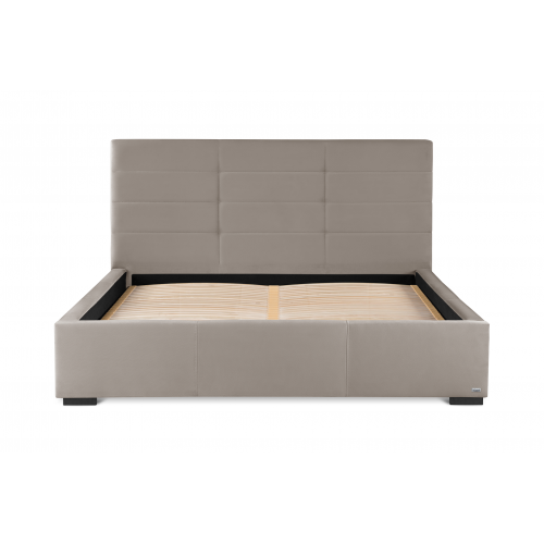 Lit Coffre taupe clair POETRY - Promos chambre lit