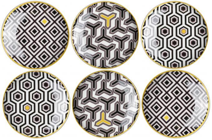 coffret de 6 grandes assiettes eclektic mix noir blanc vaisselle pas cher. Black Bedroom Furniture Sets. Home Design Ideas