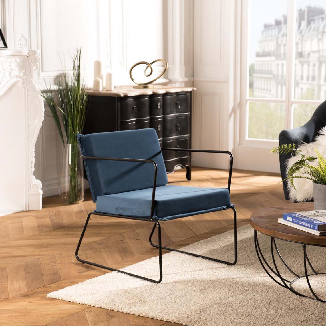 fauteuil tissu velours agathe bleu nuit pieds evases metal