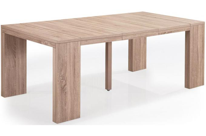 Table console extensible ch ne clair 4 rallonges xl for Table extensible bois clair