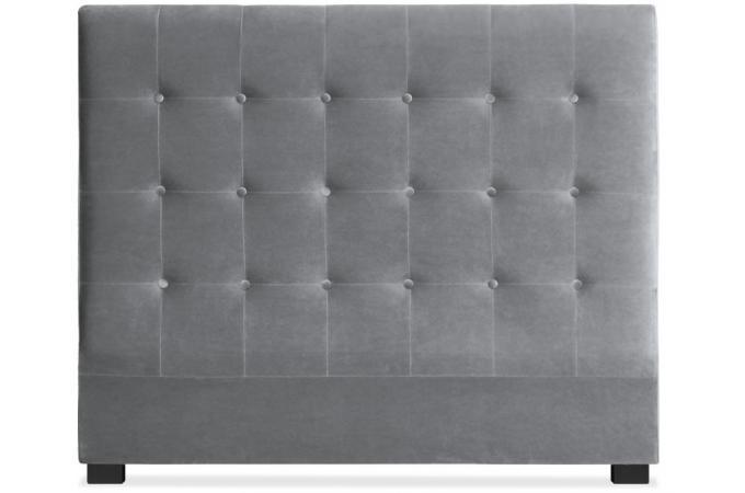 t te de lit capitonn e 140 cm velours argent paca t te. Black Bedroom Furniture Sets. Home Design Ideas