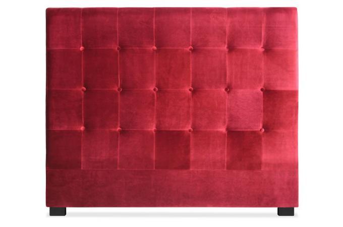 t te de lit capitonn e 140 cm velours rouge paca t te de. Black Bedroom Furniture Sets. Home Design Ideas