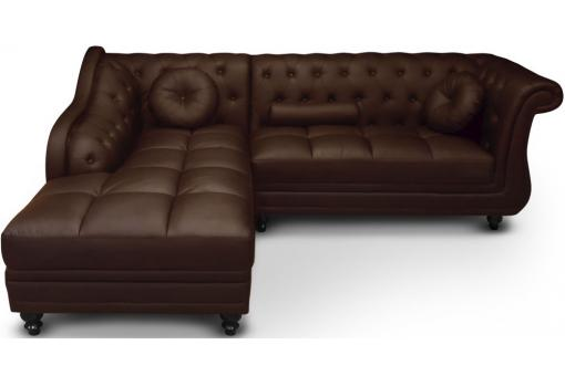 Canapé d'angle Brittish gauche Marron style chesterfield