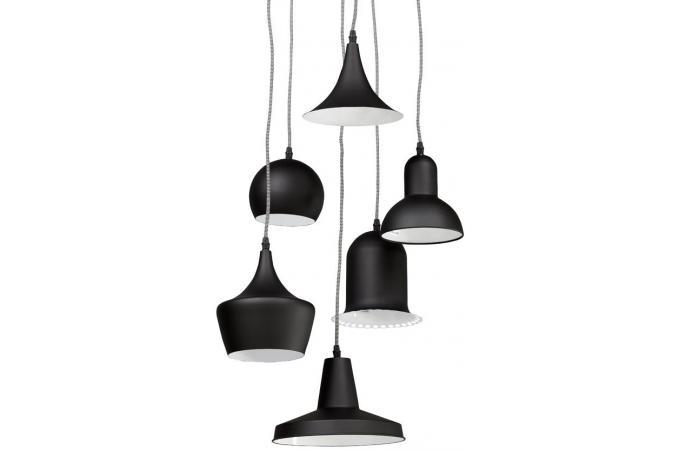 suspension multi abat jour noire pingouin suspension pas cher. Black Bedroom Furniture Sets. Home Design Ideas
